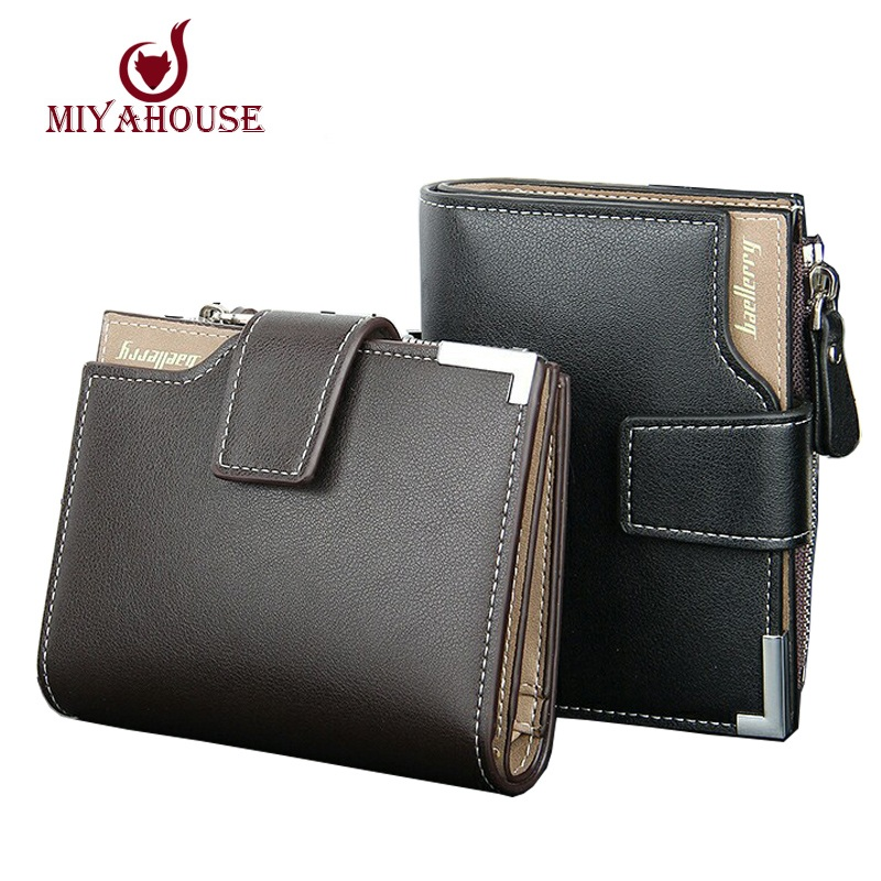 Hot Sale Male Short Wallets PU Leather Card Holder Coin With Zipper Wallet Black Brown Mens Zipper Purses Pockets(China (Mainland))