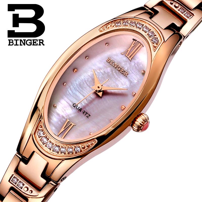 Genuine Swiss BINGER Brand Women quartz dress watches female form with slim ladies sapphire Shell Waterproof free shipping(China (Mainland))