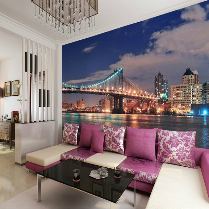 Buy city night mural wallpaper of modern for City wallpaper mural