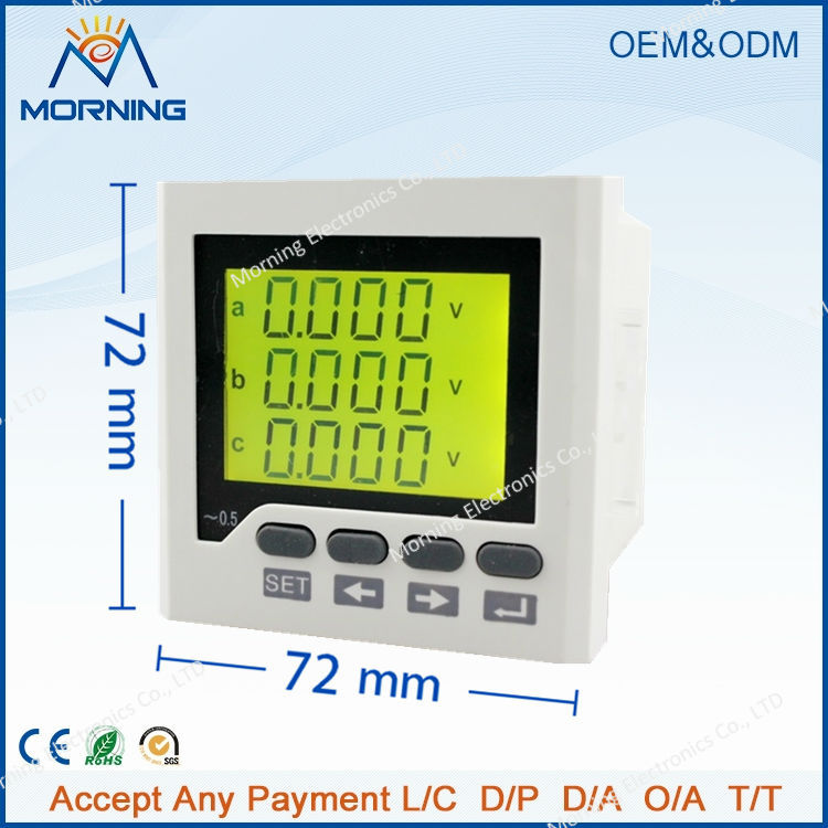 3HD6Y frame size 96*96 industrial usage lcd harmonic measure rs485 commnication three phase digital low price energy meter(China (Mainland))
