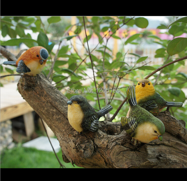 4pcs set creative garden home bird decoration resin cute for Artificial birds for decoration