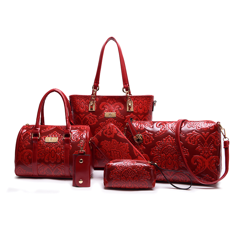 New PU Leather Composite leather Bag Women Shoulder Crossbody Bag Handbag+Messenger Bag+Purse+Wallet+holder+boston bag 6 sets(China (Mainland))