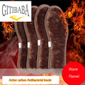2 pair lot High quality antibacterial Active carbon linen remove odors Insoles Increased winter thick warm