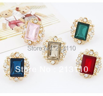 Personality Elegant Big Rings For Women 5 Colors Big Glass Stone Fashion Gold Plating Adjustable Finger Rings Jewelry