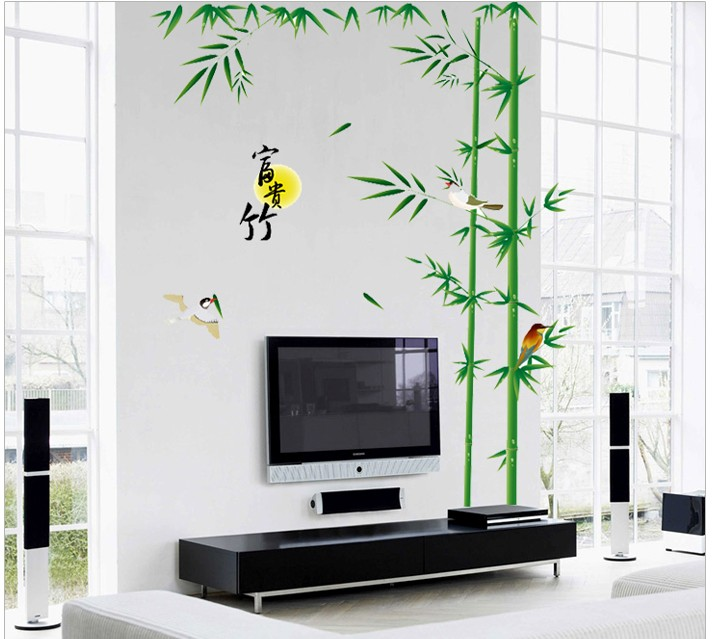 Diy Bedroom Wall Art Decor : Bamboo birds plant vinyl wall art decals islamic furniture