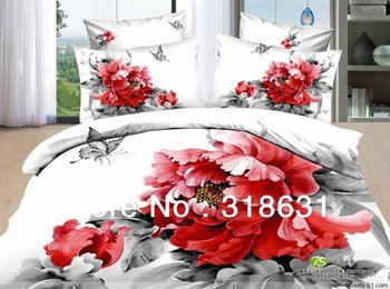 2013 New Listing Floral Bedclothes Bedroom Set Duvet Cover Set 3d Red Flower Printed Butterfly Pattern 4pcs in Full Queen