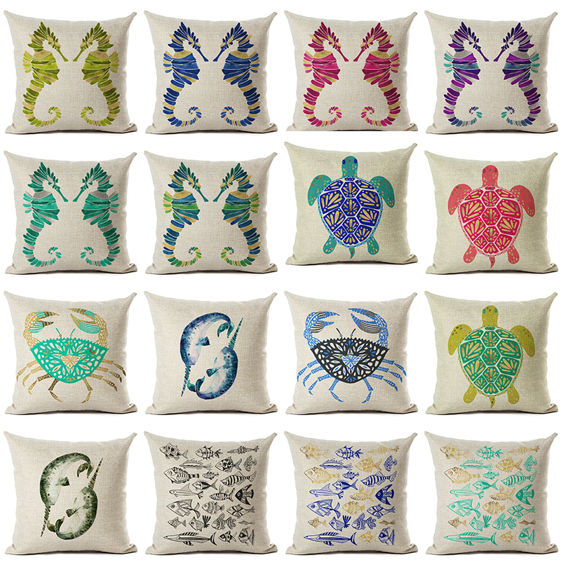 Hot Selling Ocean Style Colorful Marine Life Linen Cotton Square Retro Floral Home Decor Throw Pillow Cushion Cover Cojines(China (Mainland))