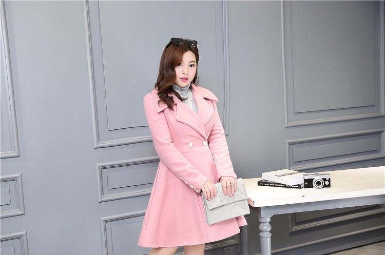 CHICY Women Woolen Trench Coat 2016 Autumn Winter Solid Color Turn Down Collar Long Sleeve Fashion Long Wool Blend Jacket