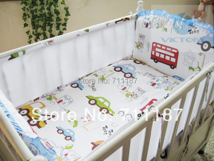 100% Cotton Baby Boy Bedding Set Little Car Pattern Summer Bedding Set For Infant,Comfortable 5 Pcs Baby Bedclothes Unpick(China (Mainland))