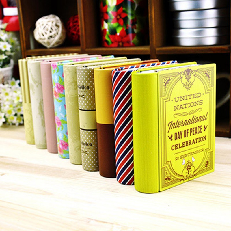 1 pcs creative mini European style books shape candy storage box wedding favor tin box zakka cable organizer container household(China (Mainland))