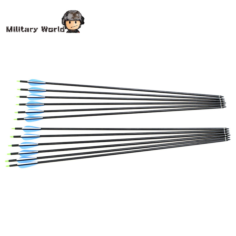 12pcs pack Outdoor Archery Sports Fiberglass Arrows 80cm Length 15 80lbs Lightweight Arrows For Compound Bow