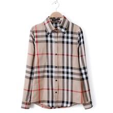 Blusas Femininas 2015 New Womens Fashion Tops British Style Khaki Plaid Pattern Summer Ladies Office Long Sleeve Shirt S-XXL(China (Mainland))