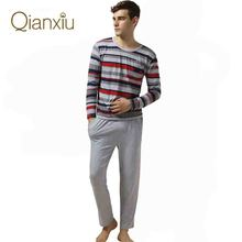 Qianxiu Pajamas Casual Stripes Men Pajama Set Plus Size Sleepwear Modal Cotton Lounge Wear(China (Mainland))
