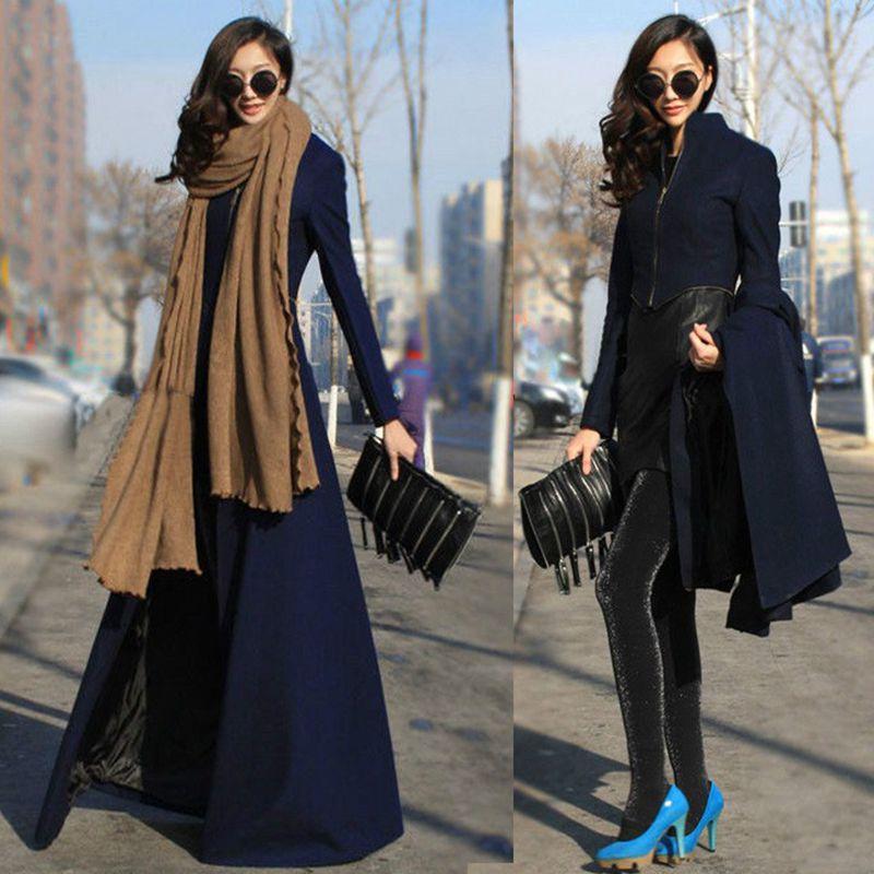 New Arrival Women Casual Full Length Wool Windbreaker Long Sleeve Loose Maxi Wool Overcoats Trench Coat(China (Mainland))