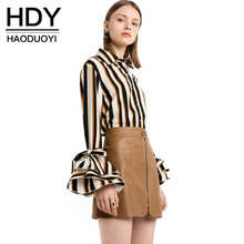 Buy HDY Haoduoyi 2017 New Fashion Striped Tops Women Flare Sleeve Female Single Button Shirts Street Style Ladies Blouses Shirts for $19.98 in AliExpress store