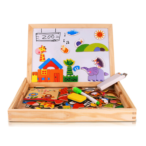 Puzzle Toys Children Multifunctional Wooden Magnetic Pretend Play Toy For Kid Brinquedos Jigsaw Baby's Erasable Drawing Board(China (Mainland))