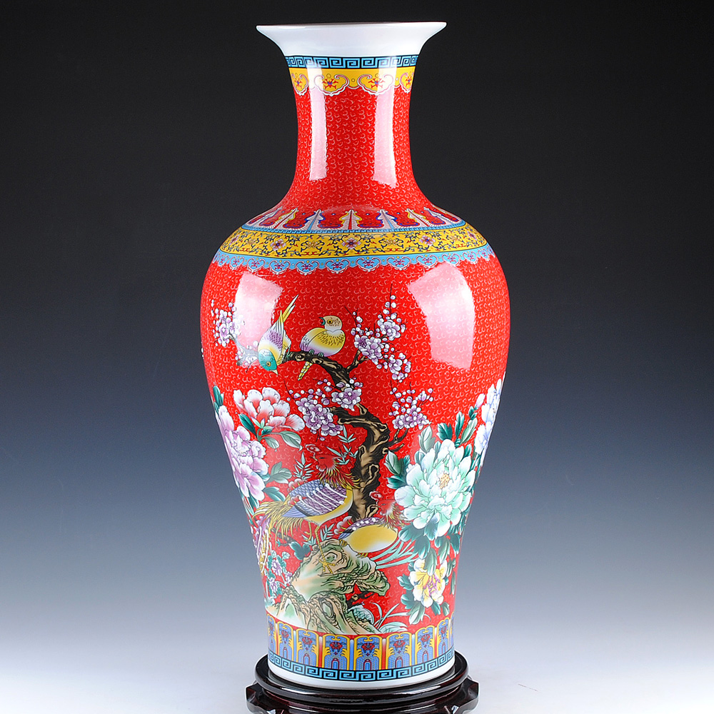 Jingdezhen ceramics chinese european red enameled ground for Modern living room vases