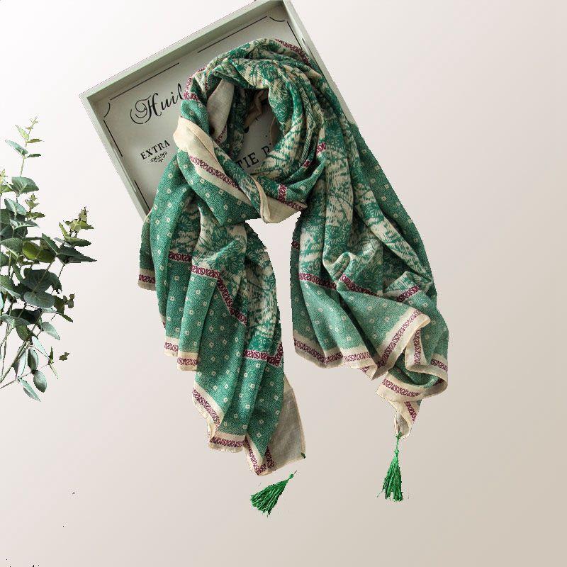 wholesale overside 6pcs/lot art bohemian geometric floral tassel scarf muslim scarves hijab fashion brand design 2016 new arrive(China (Mainland))