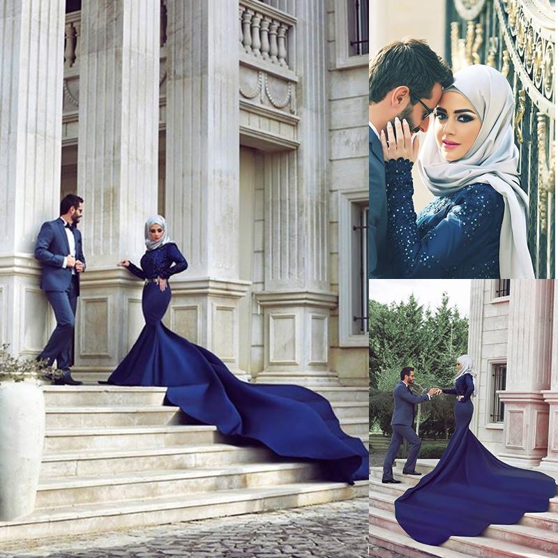 Arab Designers Wedding Dresses Dubai Saudi Arabia Abaya Long Sleeve Beaded Mermaid Royal Blue Indian Muslim Wedding Gowns(China (Mainland))