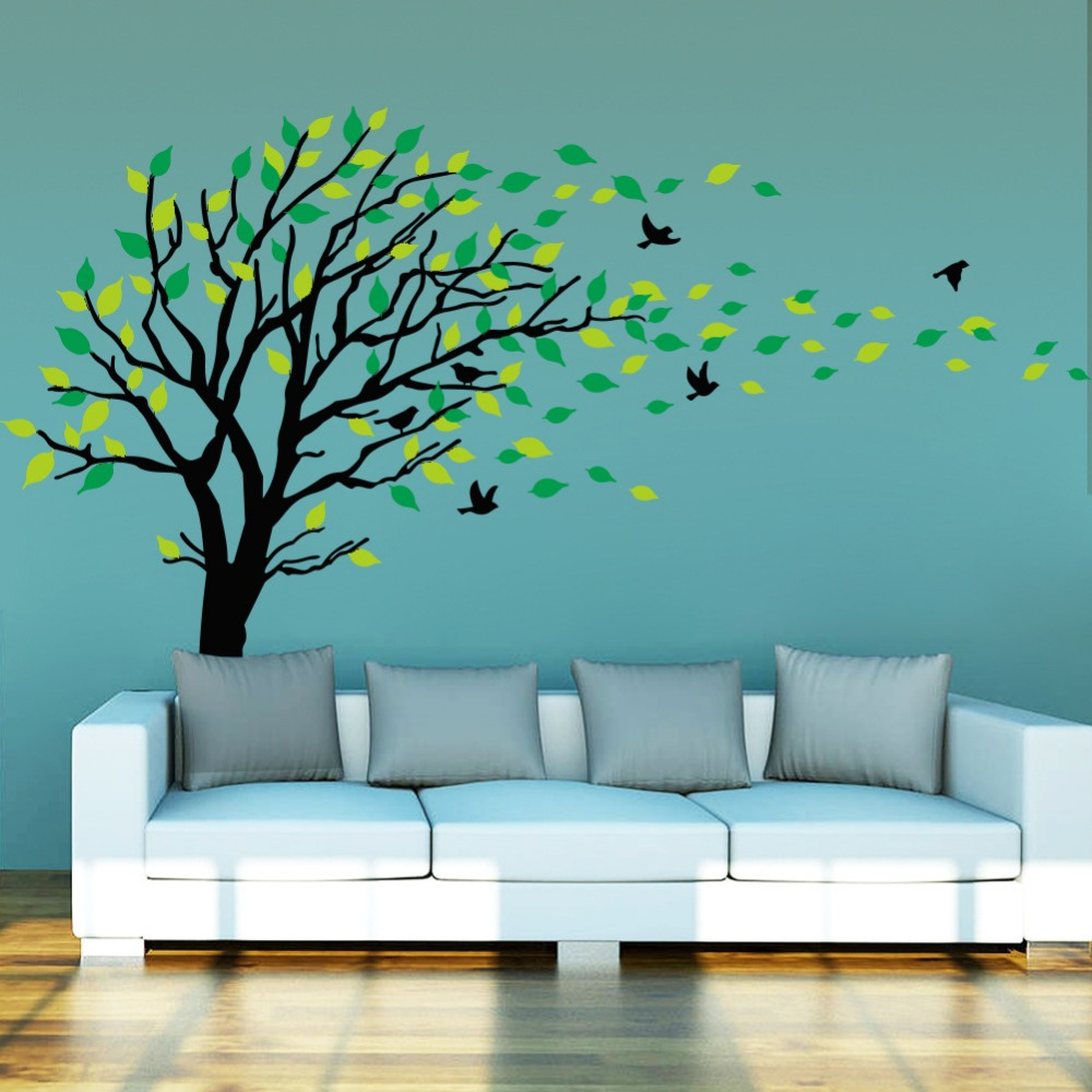 &#8337 Carved tree Wind deciduous home decor PVC wall stickers new vinyl technology living room bedroom Kids Room decor(China (Mainland))
