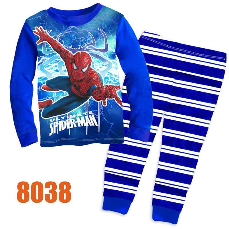 Wholesale Baby Boys Blue Super Heros Clothes Kids Cartoon Spiderman Clothing Sets Childrens Long Sleeve Sleepwear Pajamas 8038(China (Mainland))
