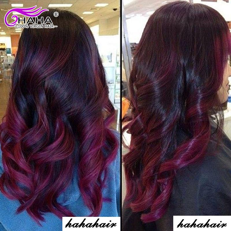 6A Brazilian Loose Wave Ombre Hair Extensions, Brazilian Virgin Hair 4 Bundles Two Tone T1b/99j Burgundy Ombre Human Hair<br><br>Aliexpress