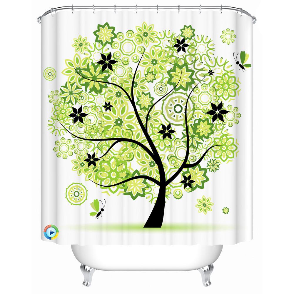 Baum druck duschvorhang polyester stoff vorhang für das bad modernes bad bildschirm dusche zimmer produkt