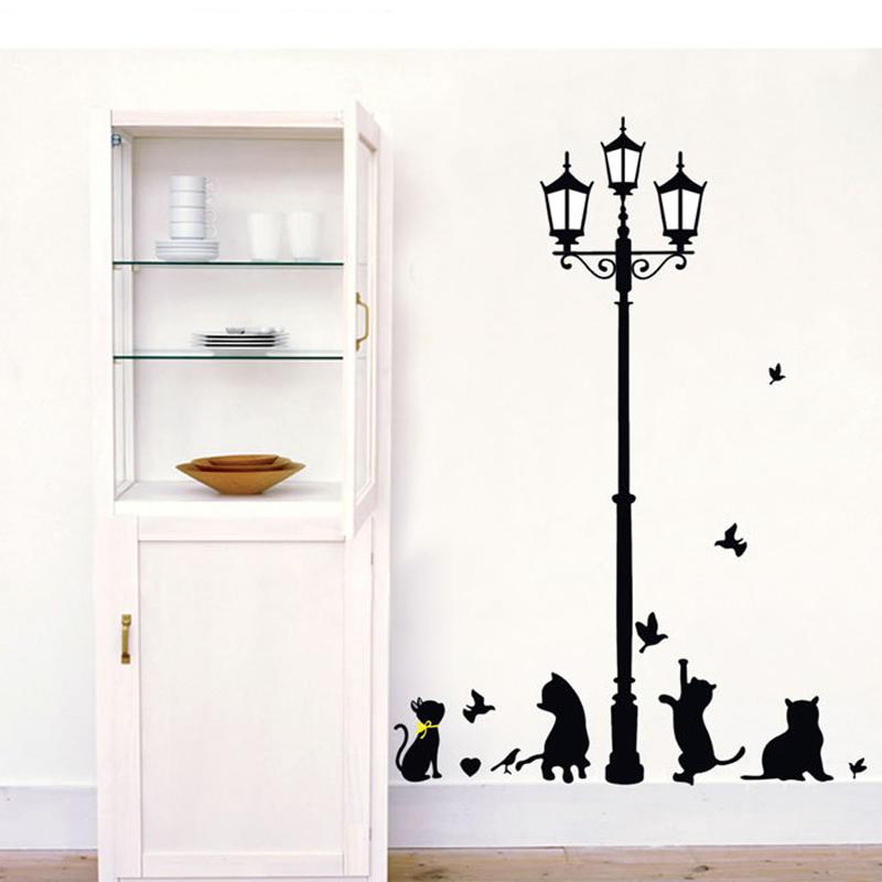 DIY Wall Stickers For Kids Rooms Children's Cats Birds Street Light Lamp Art Wall Sticker Home Decor Vinyl Wall Decals Nursery(China (Mainland))