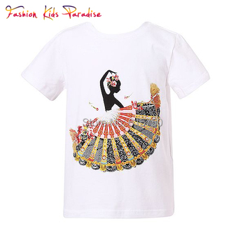 Fashion Girl T shirt with Fan Print 2015 Summer New Arrival Children T Shirts for Girls Brand Kids Tops T-shirts Girls Clothes