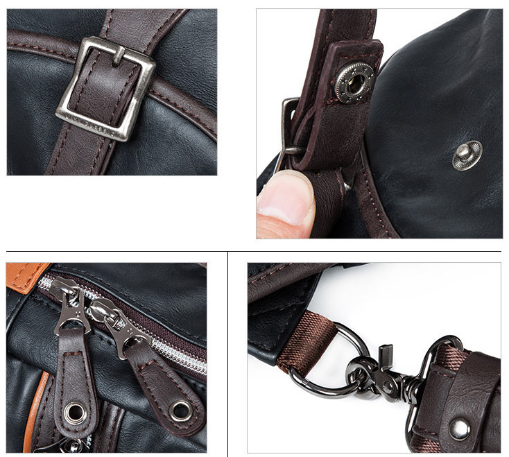 Korea Style Men PU Leather Panelled Small Crossbody Bag Casual