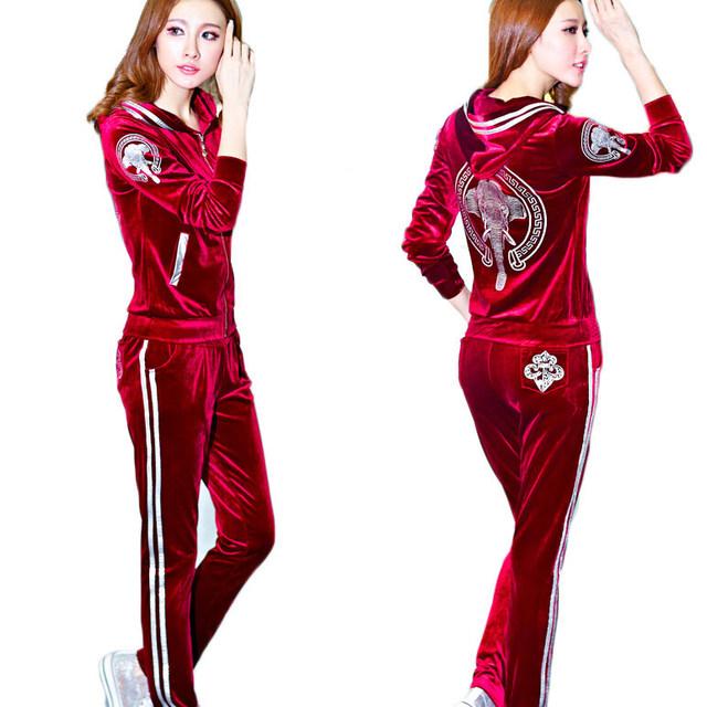 Женские комплект капюшоном урожай лучших и длинные брюки установить 2 шт. комплект ...