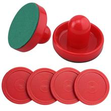 Free Shipping Set of Two Red Air Hockey Pushers and Four Red Pucks(China (Mainland))