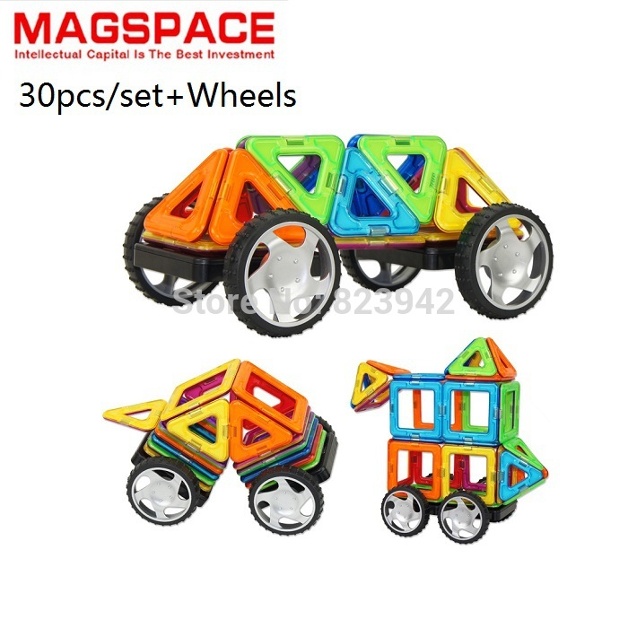 30PCS MAGSPACE Magnetic model Building Kits with wheels DIY puzzle block forge world doll house baby toy, magformers(China (Mainland))