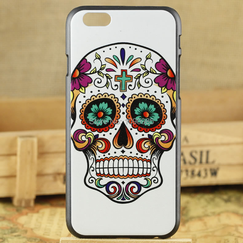 Cool PC Phone Case Wholesale Factory Price Flower Skull Series Mix Colors PC Phone Case for Iphone 6 plus 5.5 inches(China (Mainland))