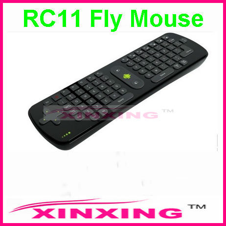 [Factory In Stock]  Mini Fly Air Mouse RC11 2.4GHz wireless Keyboard for google android Mini PC TV Palyer box Free shipping