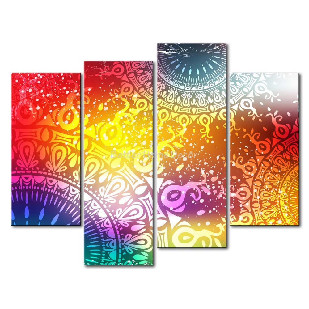 3 Piece Wall Art Painting Psychedelic Suns Picture Print