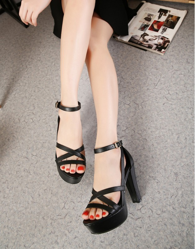 2016 New Roman shoes high with waterproof crude sandals summer black retro shoes