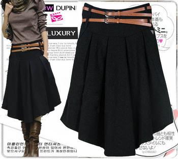 New Retail 2 Color Solid Irregular Pleated Skirt Women's 2015 Fashion Mid-Calf Short Skirt Winter