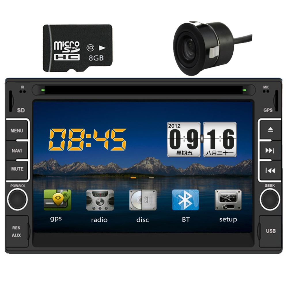 2Din Car DVD Video Player,GPS Navigation+8gb TFT Card+Rear Camera+GPS Map Bluetooth+ Audio touch screen Radio Audio Video Player(China (Mainland))