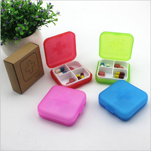 4 lattice sort sealing folding Mini Portable vitamin Medicine Pill Box Makeup Storage Case Container(China (Mainland))