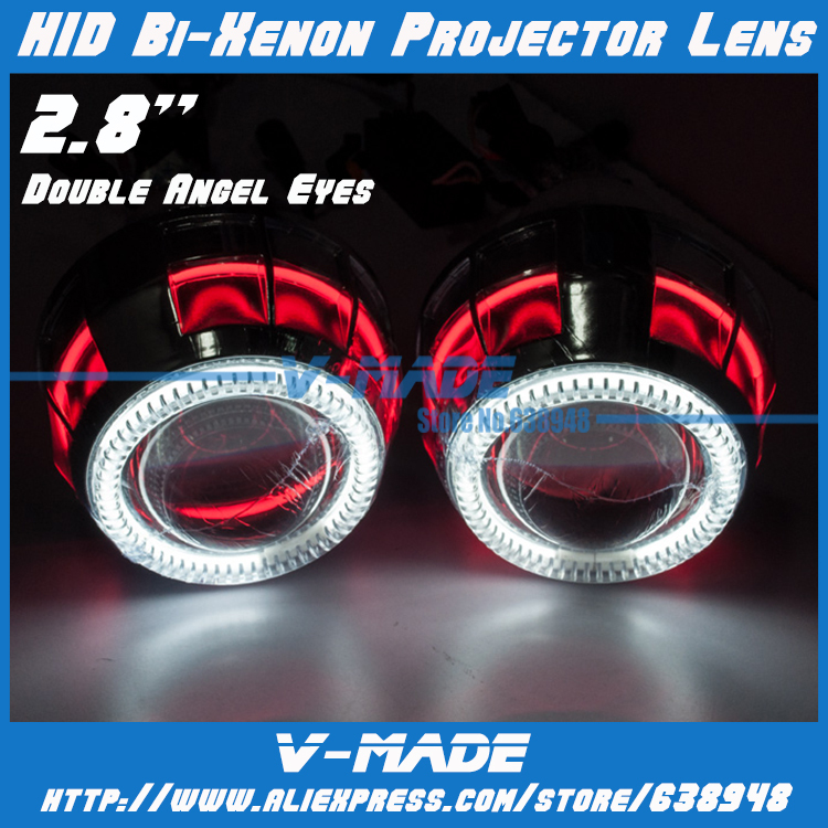 Hot!!! Wholesale Price High Quality Car headlight 2.8 inch Bi-Xenon HID Projector Lens Kit with Double LED CCFL angel eyes(China (Mainland))