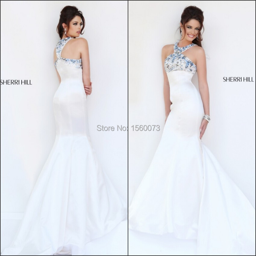 Latest fashion brand name memaid halter beaded vestido de for Brand name wedding dresses