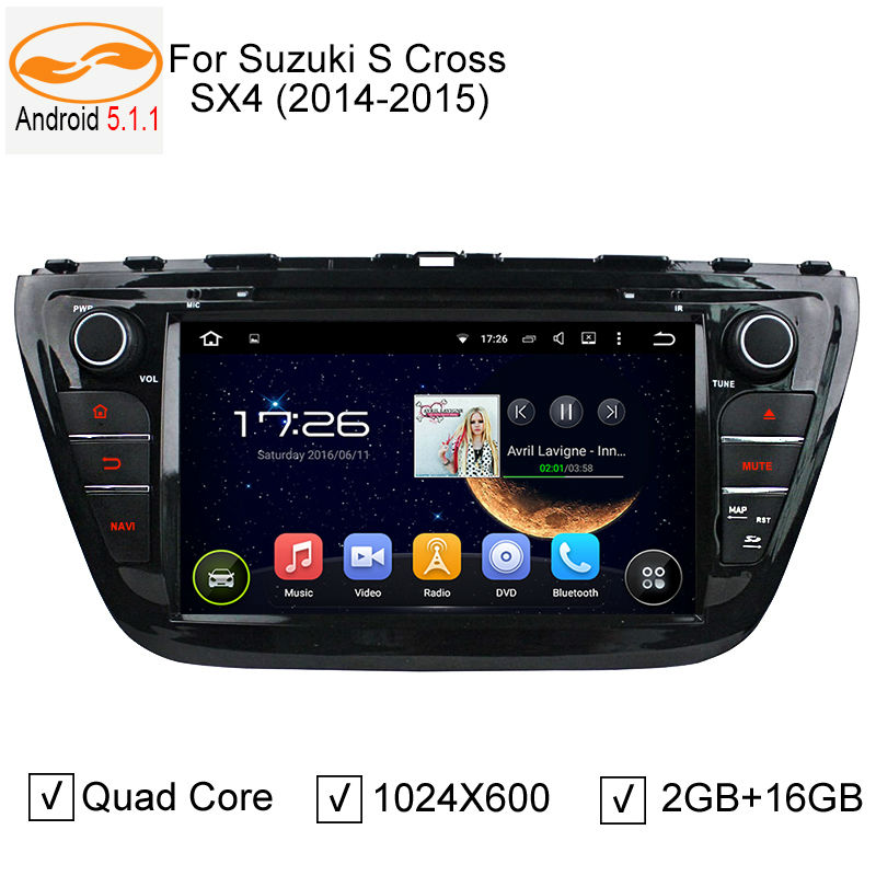 """8"""" Car DVD GPS Navigation Head Unit for Suzuki SX4 S-cross 2014 2015 Quad Core Android 5.1.1 1.6GHZ CPU WiFI Audio Video Player(China (Mainland))"""