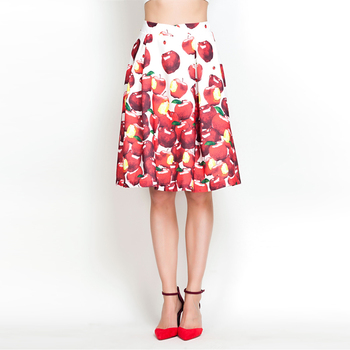 YIGELILA 828-B Latest New High Quality Women Fashion Apple Print Skirt Free Shipping