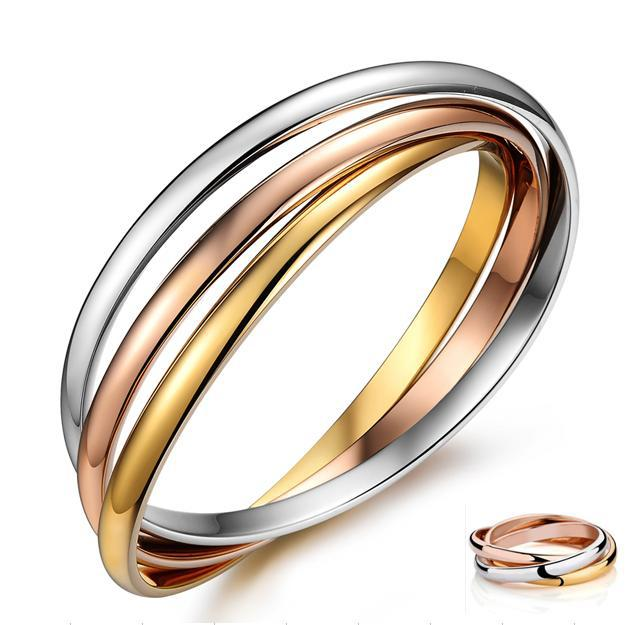 wholesale! New 18k Gold Rose bangle 3 Color Circle sterling silver Bracelets For Women Pulseras Nail Bracelet Bijoux From India(China (Mainland))