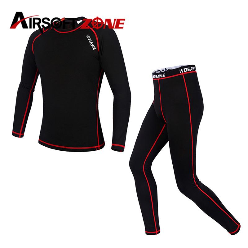Men Fleece Base Layer Clothing Underwear Cycling Running Hiking Shirt Bicycle Bike Long Sleeve Jersey Pants Outdoor Base Layers