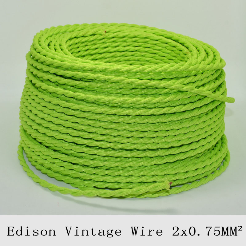 2*0.75mm2 Edison Vintage Electrical Wire Light Green Twisted Cable Retro Copper Textile Pendant Light Wire Vintage Lamp Cord 10M(China (Mainland))