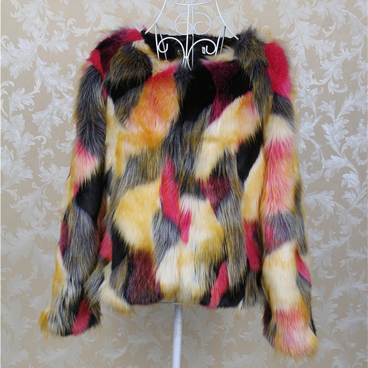 Фотография Brand Argyle Colourful Fake Rabbit Fur Coats Plush Long Sleeve Slim Jacket Plus Size Ostrich Feather Chaquetas Mujer Casacos