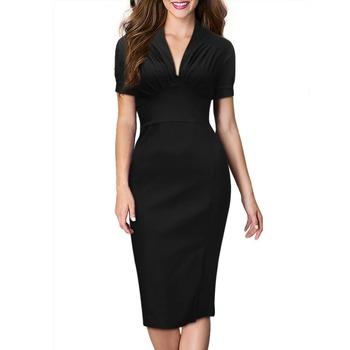 Audrey Hepburn style vintage deep v-neck short sleeve sheath bodycon dress women's casual sexy 50's 60's dresses robe vestidos