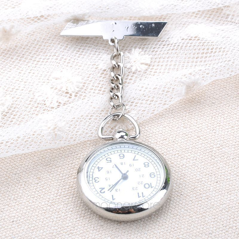 Antique Stainless Steel Nurse Pocket Fob Watch, New Silver Medical Doctor Brooch Quartz Analog Pendant Watch Y50*MPJ089#S7(China (Mainland))